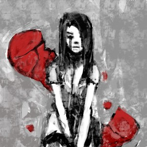 Heart & Depressed Girl Image