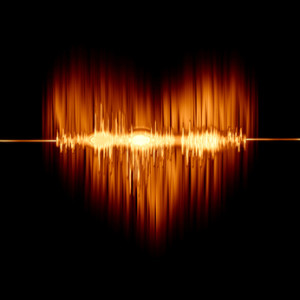 flaming heart with the sound wave